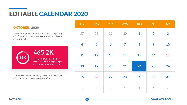editable calendar 2020